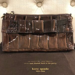 Kate Spade Brown Patent Leather Bow Shoulder Bag
